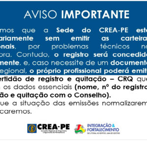 AVISO IMPORTANTE – IMPRESSÃO DAS CARTEIRAS