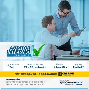 Curso Auditor Interno ISO 9001:2015 de 21 a 23 de janeiro