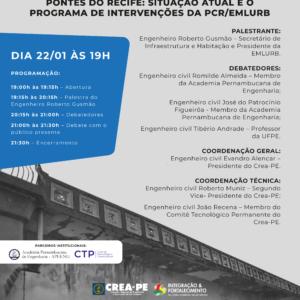Pontes do Recife: Situação Atual e o Programa de Intervenções da PCR/Emlurb será tema de debate no Crea-PE em 22 de janeiro