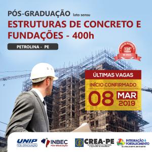 Pós-Graduação Lato Senso Estruturas de Concreto e Fundações do INBEC, em Petrolina. Últimas vagas!