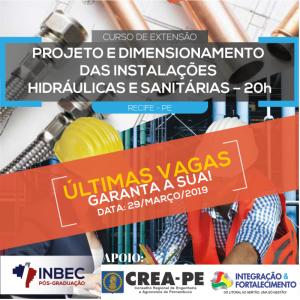 Curso de Extensão em Projeto e Dimensionamento das Instalações Hidráulicas e Sanitárias – 20H, com data confirmada para dia 29/03