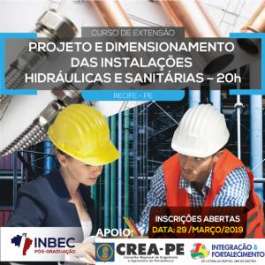 INBEC Recife está com últimas vagas para o Curso de Extensão em Projeto e Dimensionamento das Instalações Hidráulicas e Sanitárias – 20H