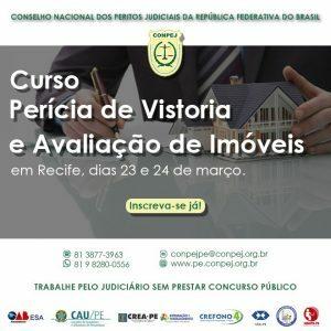 Curso Perícia de Vistoria e Avaliação de Imóveis, em Recife, dias 23 e 24 de março