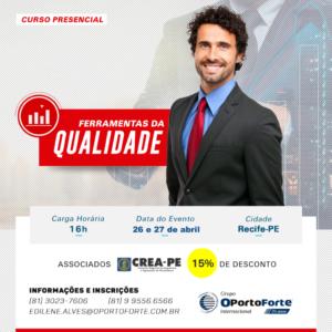 Curso presencial – Ferramentas da Qualidade – em Recife dias 26 e 27 de abril