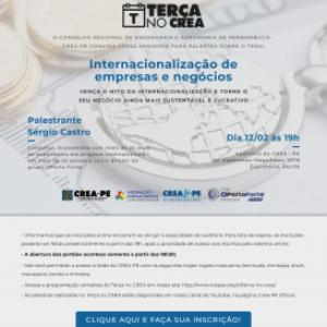 Internacionalização de Negócios no Terça no Crea do dia 12 de fevereiro