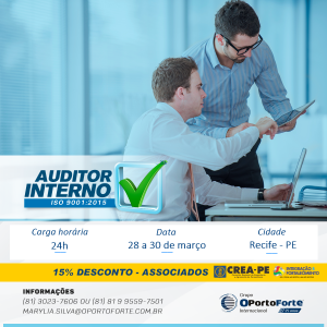 Curso de Auditor Interno ISO 9001:2015 – 28 a 30 de março