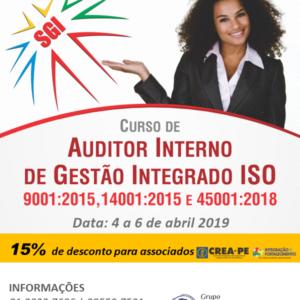 Curso de Auditor Interno SGI (Sistema de Gestão Integrada) – 4, 5 e 6 de abril