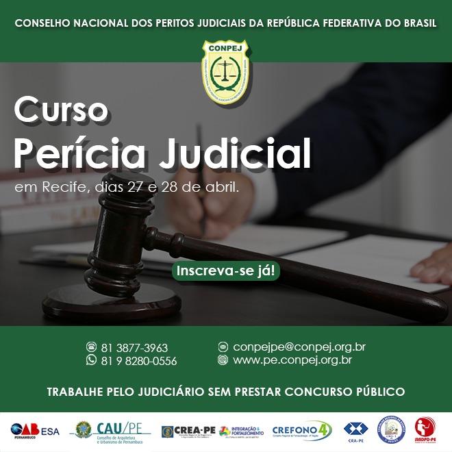 Read more about the article Curso de Perícia Judicial em Recife – 27 e 28 de abril