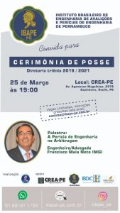 Read more about the article Hoje (25/03), no auditório do Crea-Pe, Cerimônia de Posse da Diretoria do IBAPE – triênio 2019/2021