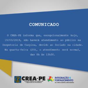 COMUNICADO – INSPETORIA CARPINA