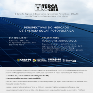 Próximo Terça no Crea traz Energia Solar Fotovoltaica como destaque