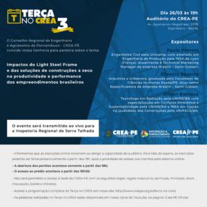 Impactos do Light Steel Frame e das Soluções de Construções à Seco nos empreendimentos brasileiros será tema do próximo Terça no Crea