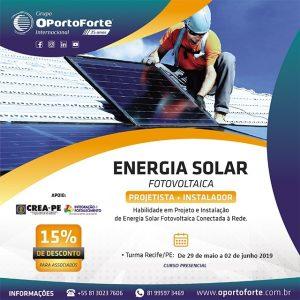Curso Energia Solar – Projetista + Instalador Fotovoltaico – 29/05 a 02/06, turma em Recife-PE