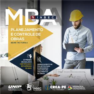 MBA de Planejamento e Controle de Obras – INBEC turma II, em Recife-PE