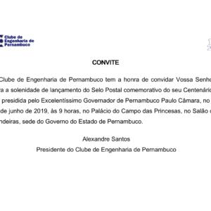 Convite lançamento do selo comemorativo do Centenário do Clube de Engenharia de Pernambuco