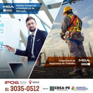 Especialização em Engenharia de Segurança do Trabalho e MBA Executivo em Gestão Comercial e Inteligência de Mercado, cursos modernos e estratégicos você encontra no IPOG