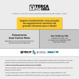 Engenheiro José Carlos Melo fala sobre esgoto condominial no Terça no Crea