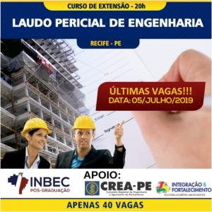 CURSO DE EXTENSÃO EM LAUDO PERICIAL DE ENGENHARIA COM DATA CONFIRMADA PARA DIA 05/07, ULTIMAS VAGAS