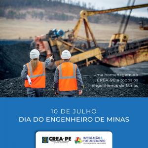 Parabéns do Crea-PE a todos os profissionais da Engenharia de Minas