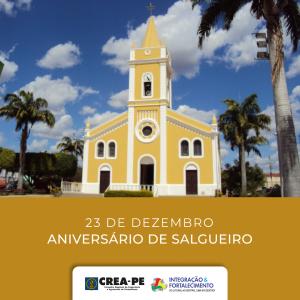 Crea-PE parabeniza os habitantes de Salgueiro pelos 155 anos da cidade