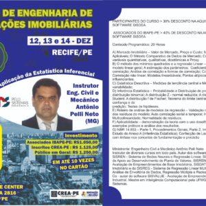 IBAPE-PE abre inscrições para o curso de Engenharia de Avaliações Imobiliárias