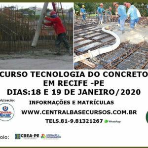 CURSO TECNOLOGIA DO CONCRETO NO RECIFE – DIAS 18 E 19 DE JANEIRO DE 2020