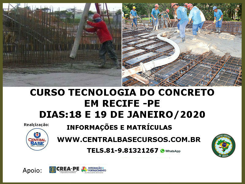 Read more about the article CURSO TECNOLOGIA DO CONCRETO NO RECIFE – DIAS 18 E 19 DE JANEIRO DE 2020
