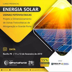 Inscrições abertas para curso de projetos de usinas fotovoltaicas de minigeração e grande porte – 11 a 13 de fevereiro