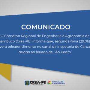ATENÇÃO! COMUNICADO TELEATENDIMENTO INSPETORIA DE CARUARU