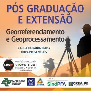 Inscrições abetas para o curso de pós-graduação e extensão em Georreferenciamento e Geoprocessamento com descontos especiais