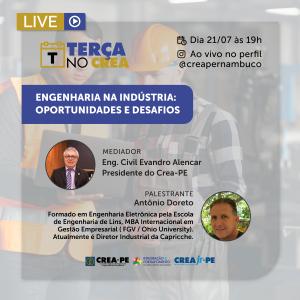Terça no Crea tem foco nos desafios e nas oportunidades da engenharia na indústria