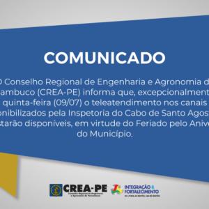 ATENÇÃO! COMUNICADO TELEATENDIMENTO INSPETORIA DO CABO DE SANTO AGOSTINHO