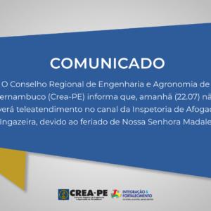 ATENÇÃO! COMUNICADO TELEATENDIMENTO INSPETORIA DE AFOGADOS DA INGAZEIRA
