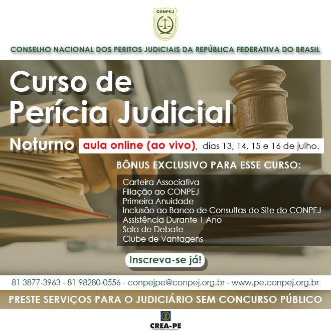 Read more about the article CONPEJ abre inscrições para turma noturna do curso de Perícia Judicial on-line e ao vivo