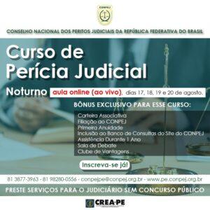 CONPEJ abre inscrições para turma nova noturna do curso de Perícia Judicial on-line e ao vivo