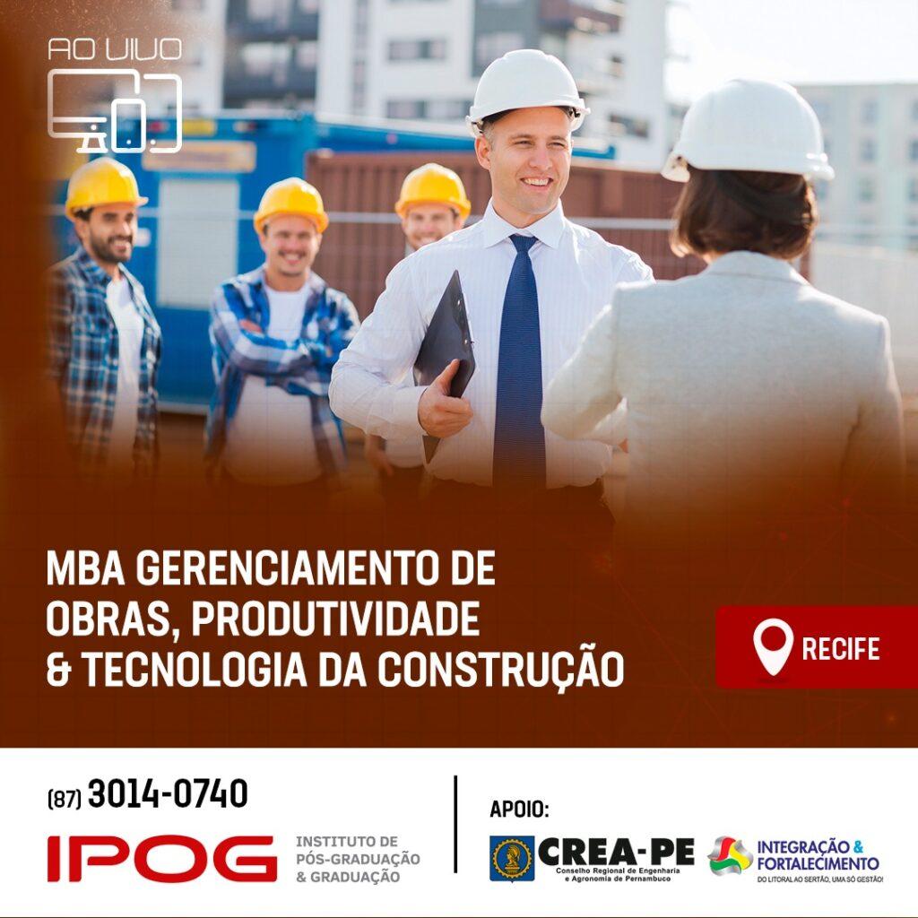 Read more about the article MBA Gerenciamento de Obras, Produtividade e Tecnologia da Construção: seu título de especialista em 12 meses