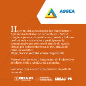 ASSEA comemora 30 anos com novo projeto social em parceria com o Crea-PE