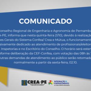 COMUNICADO – Atendimento durante as Eleições do Sistema Confea/ Crea e Mútua