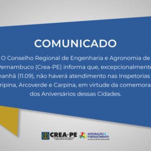COMUNICADO ATENDIMENTO NAS INSPETORIAS DE ARARIPINA, ARCOVERDE E CARPINA
