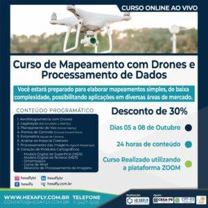 Hexafly oferece Curso de Mapeamento com Drones e Processamento de Dados on-line e ao vivo