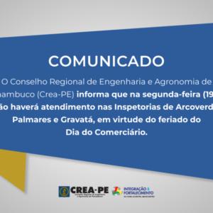 ATENÇÃO! Comunicado Atendimento Inspetorias de Arcoverde, Palmares e Gravatá