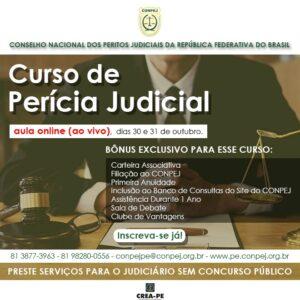 CONPEJ abre inscrições para nova turma do curso de Perícia Judicial on-line e ao vivo