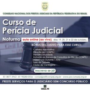 Curso de Perícia Judicial on-line e ao vivo – 19 a 22 de outubro