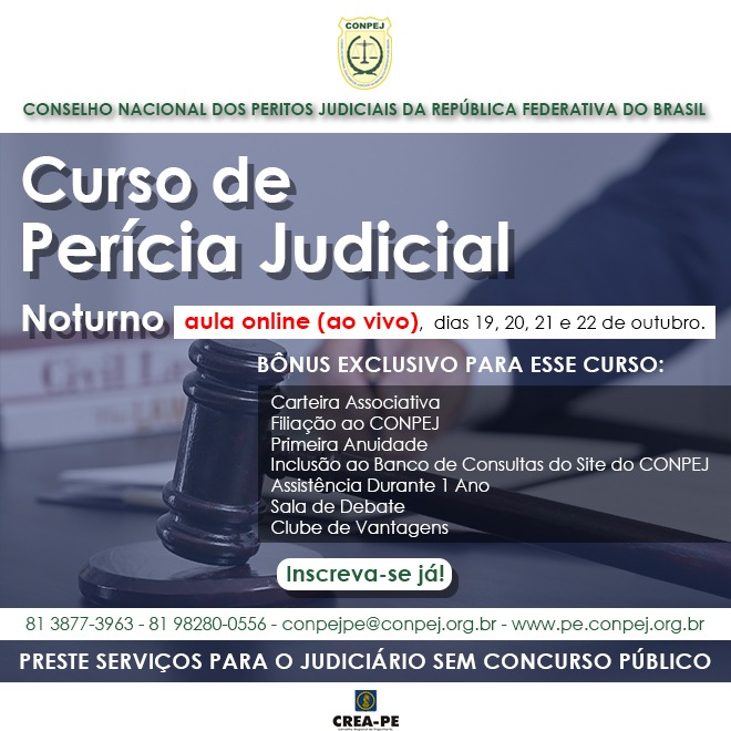 Read more about the article Curso de Perícia Judicial on-line e ao vivo – 19 a 22 de outubro
