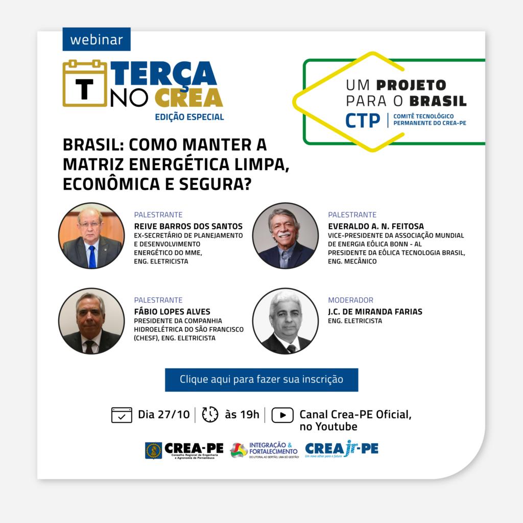 Read more about the article Um Projeto Para o Brasil, no Terça no Crea, trará informações sobre as alternativas usadas na matriz energética brasileira