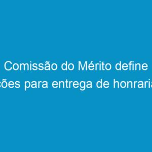 Comissão do Mérito define ações para entrega de honrarias