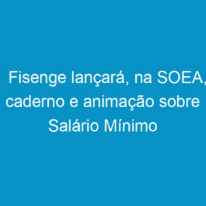 Fisenge lançará, na SOEA, caderno e animação sobre Salário Mínimo Profissional
