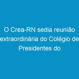 O Crea-RN sedia reunião extraordinária do Colégio de Presidentes do Sistema Confea/Crea e Mútua
