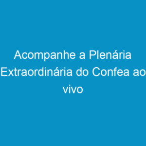 Acompanhe a Plenária Extraordinária do Confea ao vivo