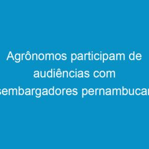 Agrônomos participam de audiências com desembargadores pernambucanos